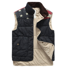 2014 Hot sale new winter Men's casual cotton vest American flag stitching design shall Man's outdoors down jacket warm Waistcoat(China (Mainland))