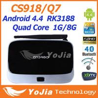 CS918 Q7 MK888 K-R42 Android 4.4 Quad Core RK3188 TV Box XBMC stalled famouse add ons Mini PC 1GB Ram 8GB Rom Bluetooth Build in