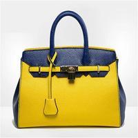 2014 New Contrasting Color Women Handbag Fashion Litchi Stria Messenger Bag Lady Crossbody Bag Elegant Women OL Panelled Bolsas