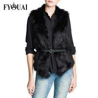 FYOUAI New 2014 Fashion Fur Vest Slim Sleeveless Winter Jacket Women Warmth Outdoor Casual Women Coat With Belt