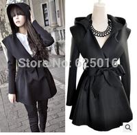 2014 Fashion Lady Women Black Slim Hood Belt Jacket Coat Trench Windbreaker Winter Warm Long Jacket  Down