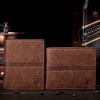 Free shipping 2014 new fashion vintage men Medium style PU leather male wallet men designer luxury carteire