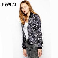 FYOUAI New Fashion 2014 European Style women Jacket Sexy Leopard Print Jacket Cotton Csaual Autumn Spring Women Coat