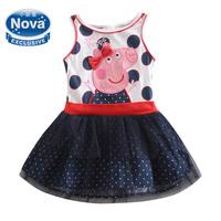 Retail peppa pig girl dress nova children peppa dresses summer casual party evening princess dresses for baby girls H5066