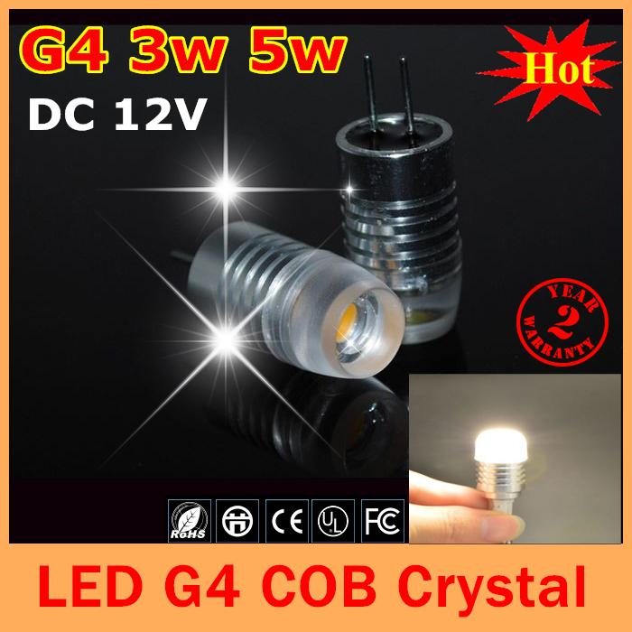 1pcs Led G4 Lamps DC 12V 3W 5W Crystal led bulb Droplight Chandelier COB Spot car Light Cold/Warm White g4 led free shipping(China (Mainland))