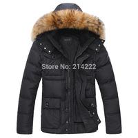 Wholesale Men's new winter men's jacket men down long section thicker fur collar jackets men