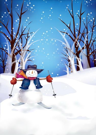 300cm*200cm Snowman Skiing woods photography studio Grade christmas backdrop CM C-0398(China (Mainland))