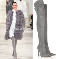 hot selling high quality pointed toe grey suede thigh high boots 2014 winter runway thin heel shoes woman over knee winter boots