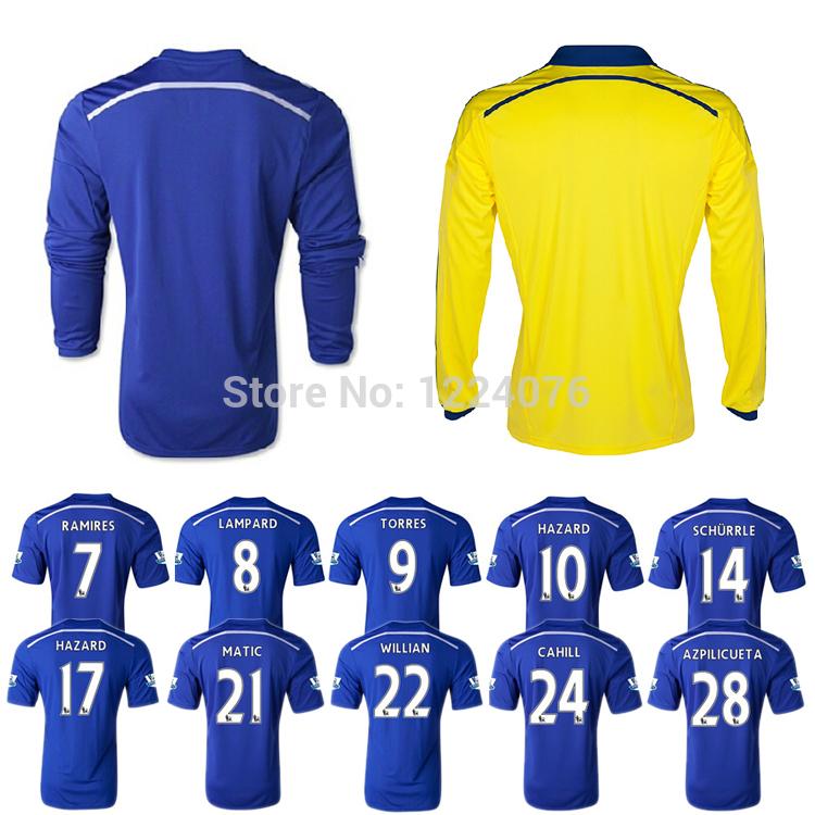 14/15 Adult soccer clothing Home blue Long sleeve Shirts 7# RAMIRES 10# HAZARD 11# OSCAR 21# MATIC 28# AZPILICUETA Free shipping(China (Mainland))