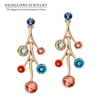 Neoglory Gold Plated Auden Rhinestone Colorful Charm Drop Earrings for Women Fashion Jewelry Accessories 2014 New Brand Gift