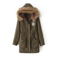 2014 winter women solid color warm padded fur hooded long coat ladies thick parkas jacket red orange pink blue olive 232803