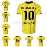 High quality 14 15 Borussia Dortmund Soccer Jersey REUS GUNDOGAN SAHIN home football shirt BVB soccer uniforms set