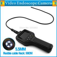"Waterproof IP67 5.5mm Endoscope Inspection Camera 4 LED Lighting 2.8"" LCD Video Endoscope Borescope Inspection Snake Camera 90CM"