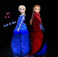 HWP24pcs=1lot Wholesale NEW Flash Music Frozen dolls Play Frozen theme song (Let it Go) 31 cm Standing