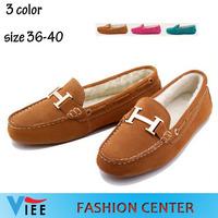 Winter plus velvet matte leather shoes, cotton women wool Snow Peas low women shoes plus cotton mom flat shoes H0850 with box