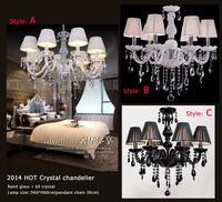 Free shipping Modern black crystal pendant lamp light crystal Chandeliers lamp dining room living room Lobby lamp- 6pcs E14 LED