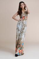 fashion floor length Print Bohemian maxi dress Women Plus Size dress SIze M L XL XXL XXXL XXXXL 5XL 6XL Free shipping HL1902-2