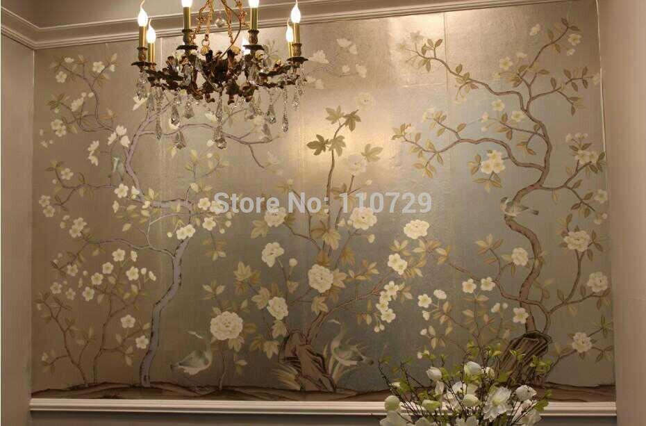 Pintado a mano pintura papel tapiz de seda flores con - Papel pintado a mano ...