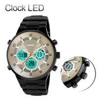Men full steel Watch Men clock LED Digital Quartz military relogios Hours  Watches 30M Waterproof Stainless Steel Wristwatches