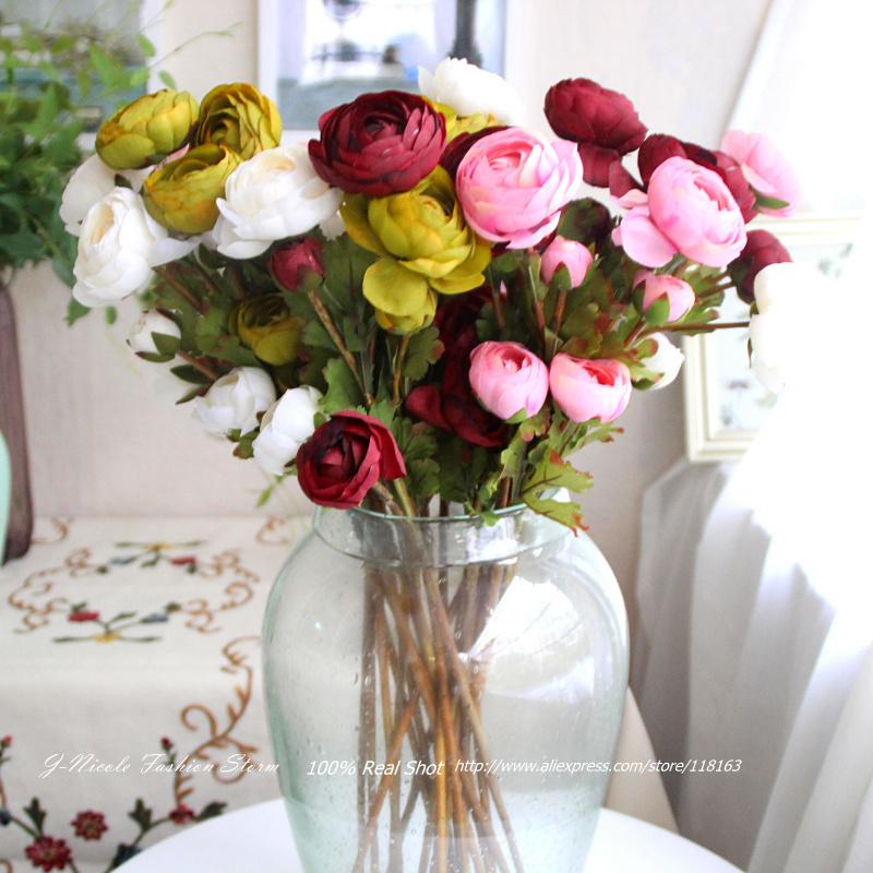 4pcs/lot Spring Artificial 3 Heads Silk Tea Rose Decorative Flowers Home Party Decor Wedding Bridal Bouquet(no vase)(China (Mainland))