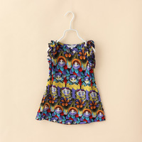 Girls Casual Summer Dress Fashion Character Sleeveless Children Clothing 8pcs /LOT