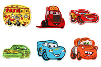 New Hot 6pcs/set Cartoon Cars Fabric Embroidered Iron/Sew On Patch for Clothes Felt Applique DIY Crafts PA066