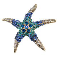 Adorable Blue Crystal Rhinestone Starfish Brooch