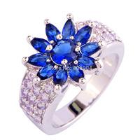 Wholesale Cocktail Charming Round Cut Beautiful Fashion Jewelry Sapphire Quartz & Tourmaline 925  Silver Ring Size 8