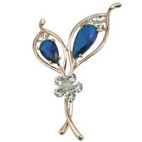 Alloy KC Gold Tone Crystal Rhinestone Flower Brooch