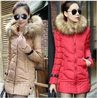 New 2014 warm women winter jacket fur hood solid color coat fashion long slim wadded thick parka female