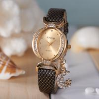 2014 Fashion Quartz Women Rhinestone Relogio Feminino Leather Strap Wristwatch Women Lady Dress Watches, Best Christmas Gift