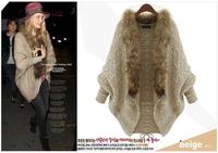 2014 Winter women sweater Cloak batwing  loose shirt sweaters beige color