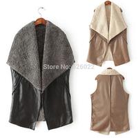 2014 New Fashion Women's Large Lapel Fleece Collar Faux Leather No Button Vest Sleeveless Waistcoat Coat Outerwear Black , Khaki