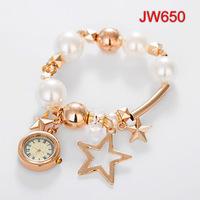 FreeShip New Designer Women Bracelet Watches Imported Quartz Gold Plated Analog Clock Star Cross Crown Tassel Decorations NW1723