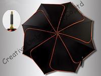 Manual Lotus leaf umbrellas,100%sunscreen,formosa,black coating,long parasol,UV protecting,rotate fluorescent orange  piping