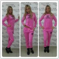 2014 New Arrived Rose Red Sportwear Women Hoody 2 pcs Sport suit Free shipping