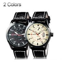 Quartz watches  Men  fashion  brand PU Leather watch clock  Analog Water Resistant WristWatch Calendar Function 2014 hotselling