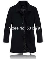 Hotsale autumn winter long Jacket men cashmere cotton wool lapel thickening slim manly gentleman down and parkas brand men Coat