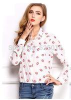 2014 NEW Fashion summer Women Loose Casual Chiffon long Sleeve Shirt Tops lady Vintage Printed Chiffon Blouse