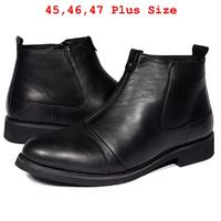 (45-47)Plus Size Men's Boots Winter Genuine Leather Martin Boots 2014 NEW Mens Business Ankle Boots Plus Fur Warm Winter Shoes
