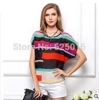 2014 New Fashion Womens Chiffon Tops Crew Neck Loose Blouse Casual T-Shirt Short Sleeve lady fashion Batwing Blouse Top shirt