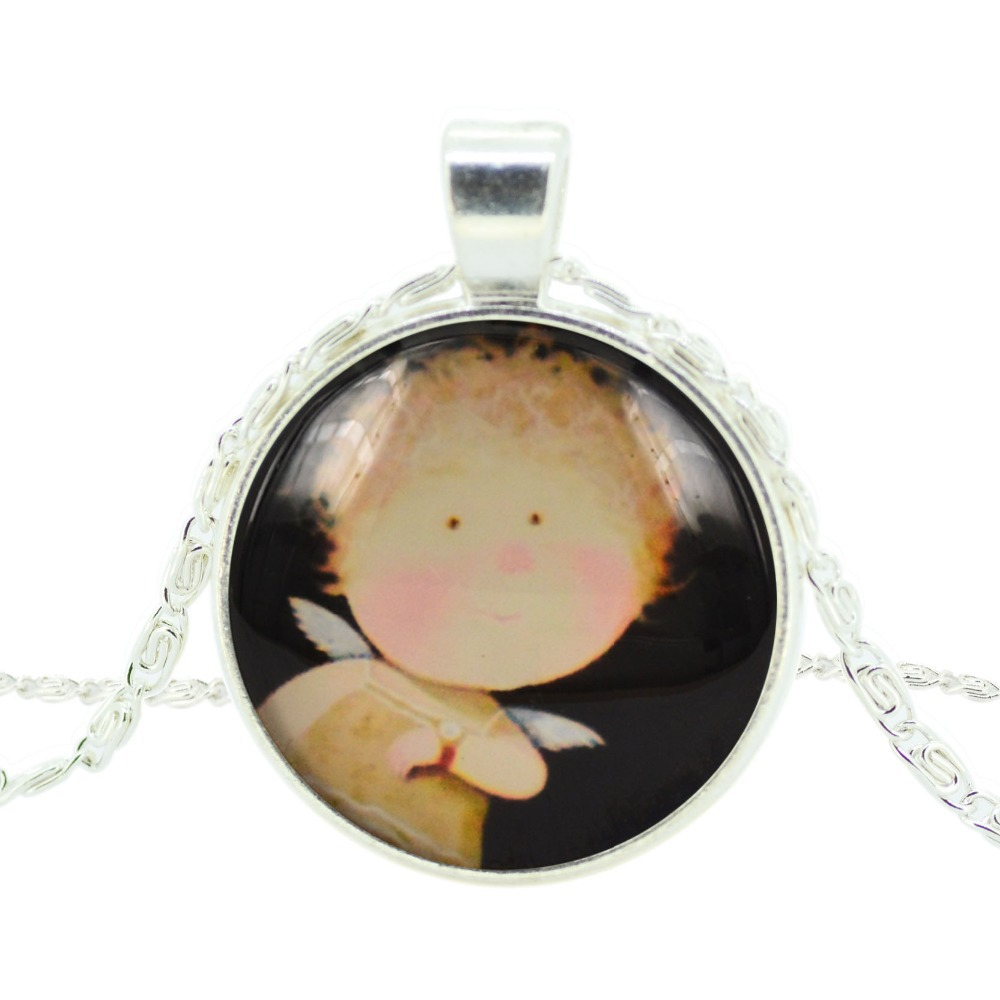 cartoon pendant necklace art picture glass cabochon silver chain necklace choker necklace statement necklace jewelry for