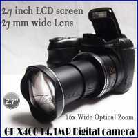 14.1MP CMOS Sensor GE-X400 DSLR digital Camera 2.7'' LCD screen 15x Optical Zoom 2.7mm Wide-Angle telescopic Lens Free Shipping