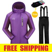 Brand Women fleece outdoor winter waterproof windproof  snow ski suit set hiking camping jacket coat+ pants snowboard clothing