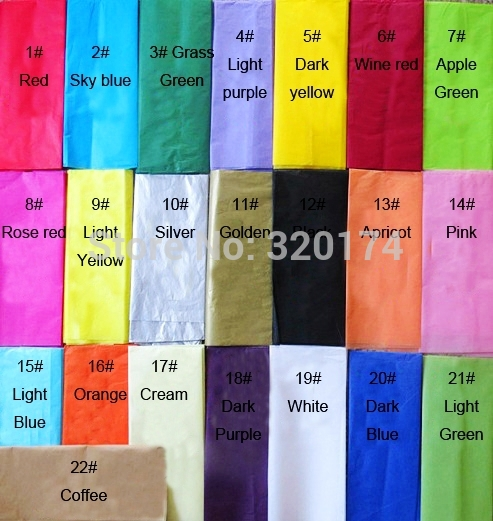 Free Shipping 25 pcs/lot Tissue Paper Wedding Gift Wrapping Paper Copy Tissue Paper DIY Material Rainbow colors 51*66cm(China (Mainland))
