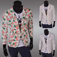 2014 colored asia size  M-XXL men blazers slim men  flower cloth men's jacket suit single breasted PX03