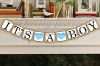 Free Shipping! Chic Shabby Vintage IT'S A BOY Banner Baby Shower Party Garlands