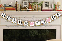 Free Shipping! Vintage Chic Bride To Be With Pink Heart Wedding Bunting Hen Party Garland Wedding Sign