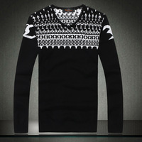 Autumn 2014 new Korean men's V-neck long-sleeved sweater men sweater jacquard knit clothes for men 7006