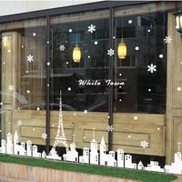 Home Decoration Adesivos Decorativos Christmas Snowflake Town Shop Window Wall Stickers Decorative Decorations 100*150 fcm